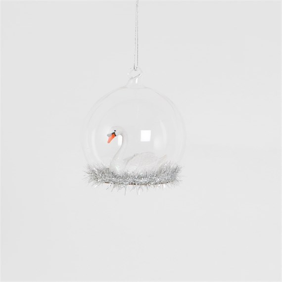 Silver Tinsel Wonderland Swan Dome Bauble