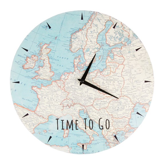 Time to Go Vintage Map Wall Clock