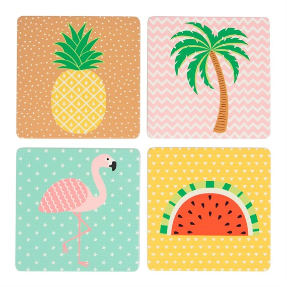 Set of 4 Tropical Summer Coasters