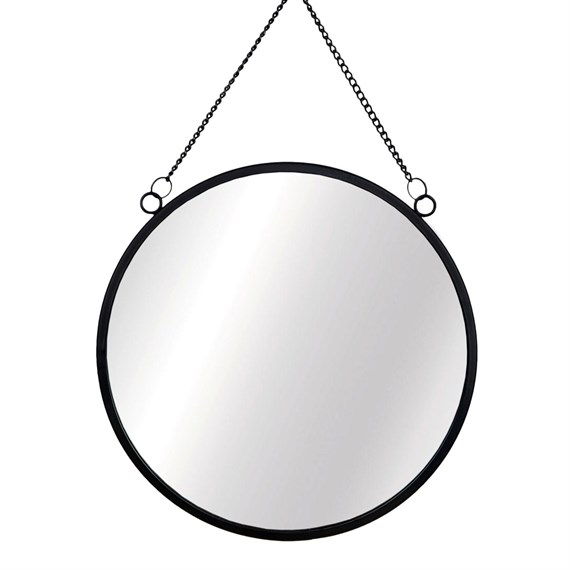 Monochrome Black Round Mirror