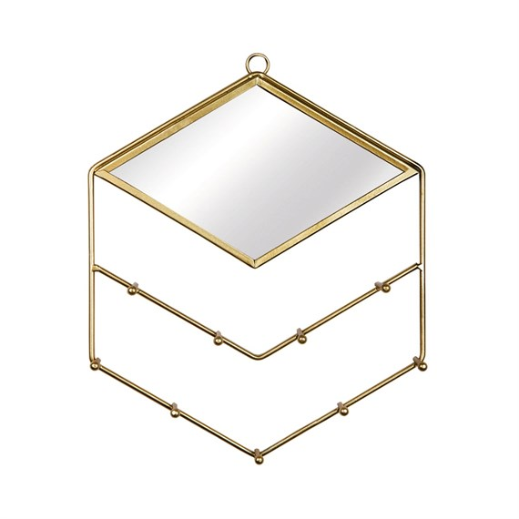Gold Diamond Jewellery Holder With Mirror