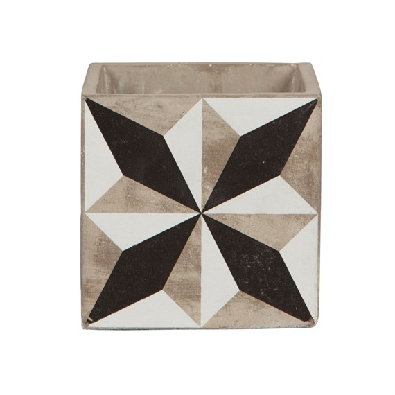 Geo Black & White Tile Planter (minor fault)