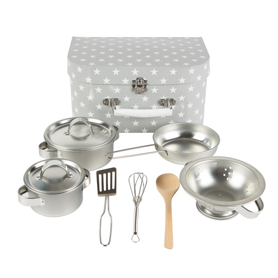 Kids Kitchen Cooking Box Set Grey Stars