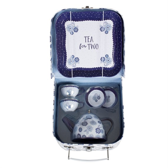Blue Floral Kid's Tea Set For Two