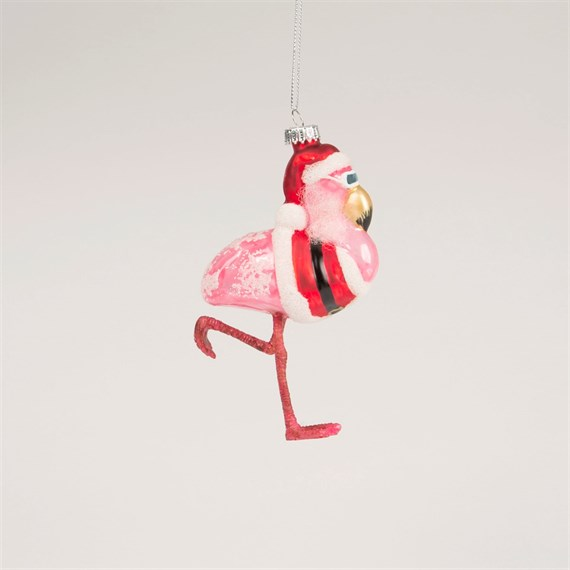 Super Cool Flamingo Santa Shaped Bauble