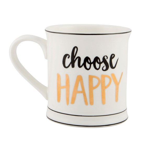 Metallic Monochrome Choose Happy Mug