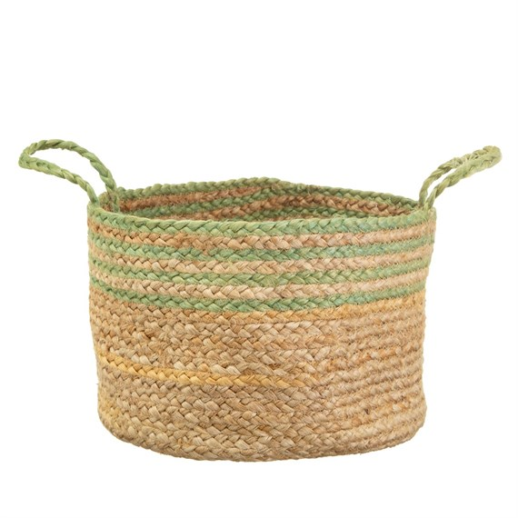 Green Stripe Jute Storage Basket