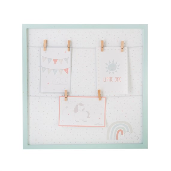 Evie Unicorn Square Hanging Pegs Frame