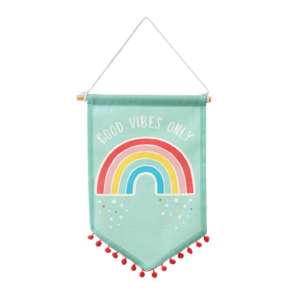 Chasing Rainbows Banner Flag with Pom Pom
