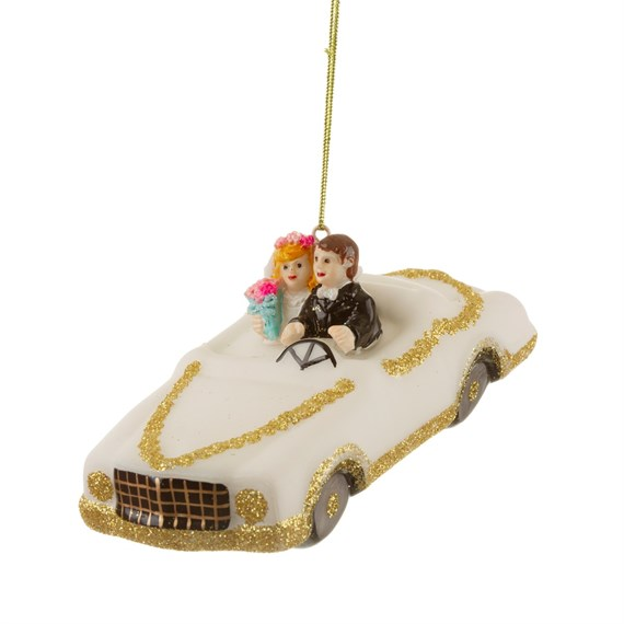 Glitter Wedding Car and Couple Shaped Bauble