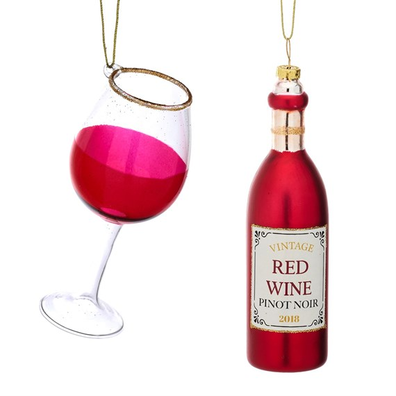 Christmas Cheer Red Wine and Glass Shaped Bauble - Set of 2
