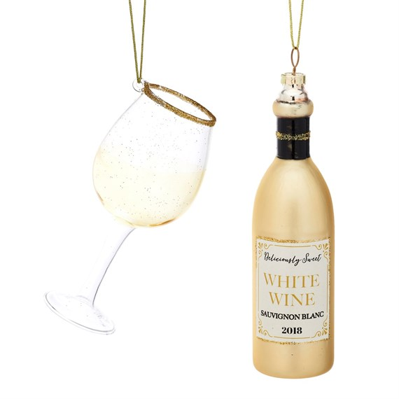 Christmas Cheer White Wine and Glass Shaped Bauble - Set of 2