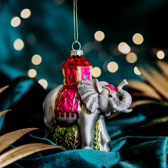 Glitter Elephant Shaped Bauble