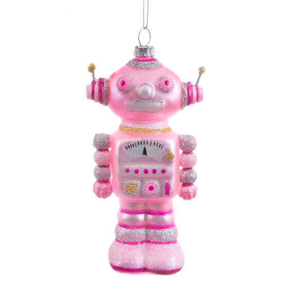 Glitter Robot Shaped Bauble