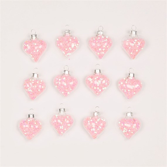 Confetti Sequin Heart Shaped Baubles - Set of 12