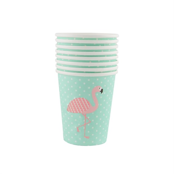 Set of 8 Tropical Summer Flamingo Paper Cups