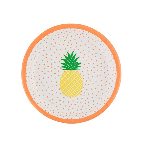 Set of 8 Tropical Summer Pineapple Paper Plates