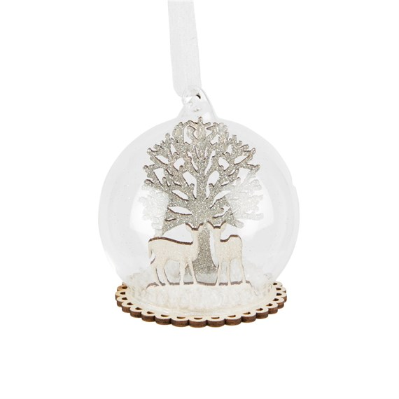 Winter Forest Fawn Dome Bauble