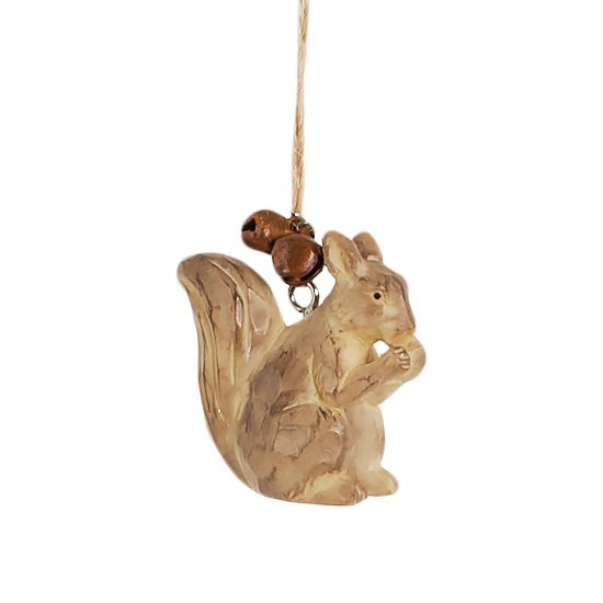 Carved Wood Squirrel Hanging Bell Decoration