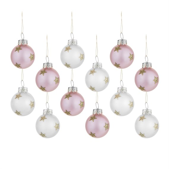 Pink and Silver Gold Stars Mini Baubles - Set of 12