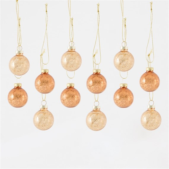 Copper Tinsel Mini Baubles - Set of 12