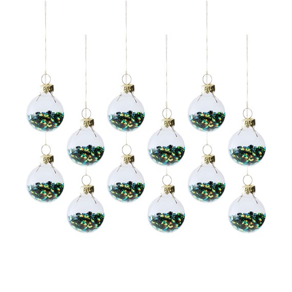Tree Green Sequin Mini Baubles - Set of 12