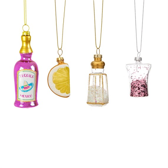 Christmas Cheer Tequila Shaped Baubles - Set of 4
