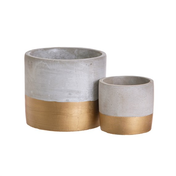 Set of 2 Gold Dip Cement Planters