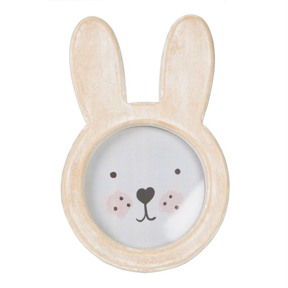 Bunny Face Rustic Wood Photo Frame White