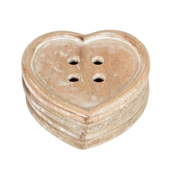 Set of 4 Heart Button Wood Coasters