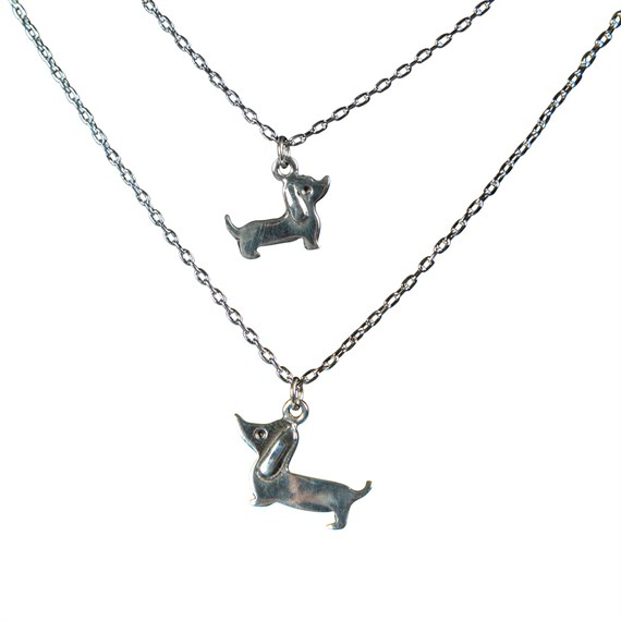 Set of 2 Mother Daughter Dachshund Necklaces