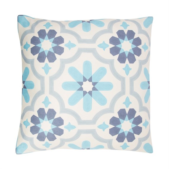White/Cream Mediterranean Mosaic Cushion