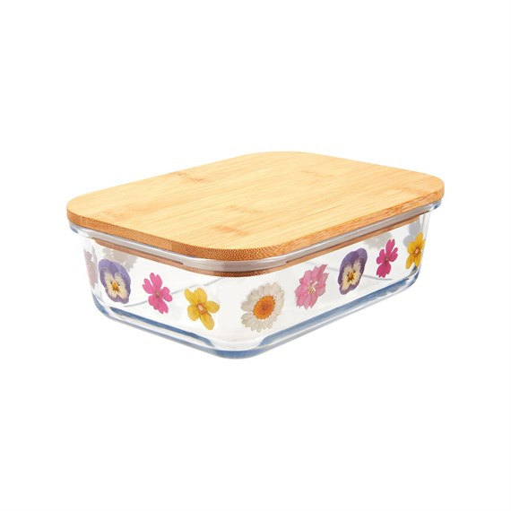 Pressed Flowers Glass Storage Box Large