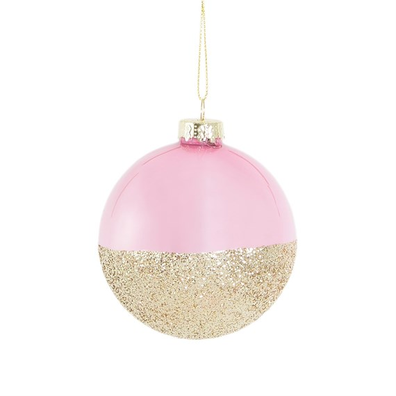 Pink Gold Glitter Dip Bauble