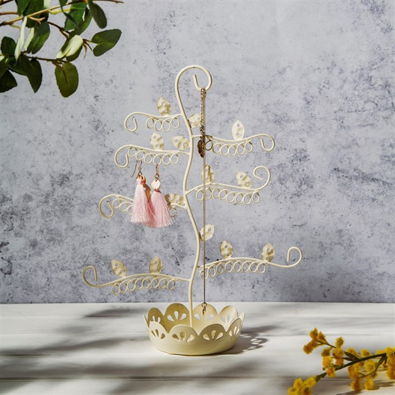 Flowery Earring Stand Cream