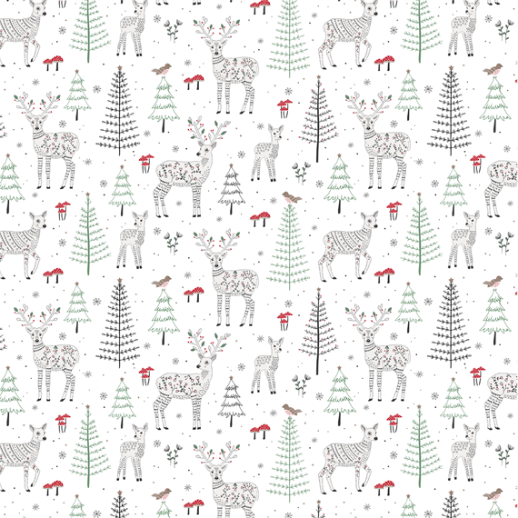 Winter Forest Folk Deer Wrapping Paper