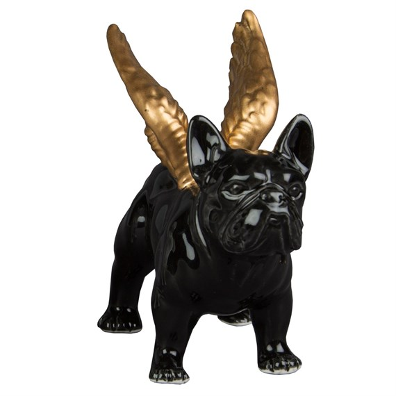 Black Bulldog with Golden Wings Ornament