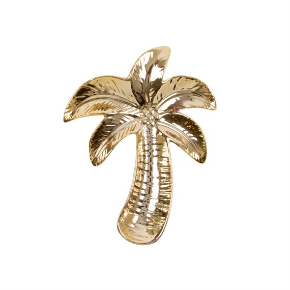 Gold Palm Tree Shaped Trinket Dish