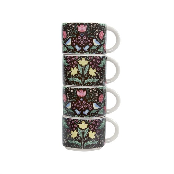 Midnight Garden Stacking Mugs - Set of 4