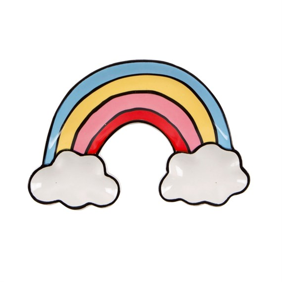 Patches & Pins Rainbow with Clouds Trinket Dish
