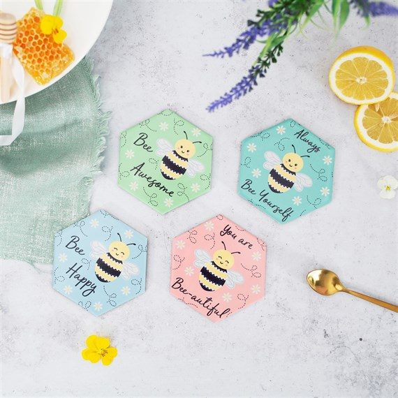 Bee Happy Coasters - Set of 4