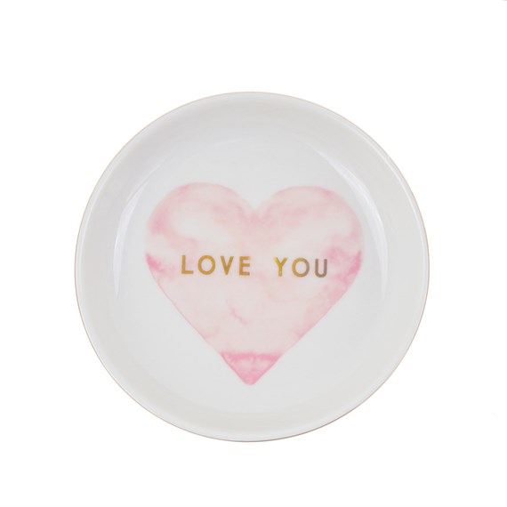 Love You Pastel Pink Heart Trinket Dish