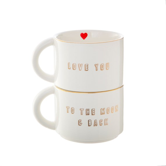 Love You To The Moon Set Of Two Stacking Mugs