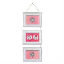 Mandala Elephant Triple Hanging Photo Frame