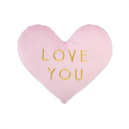 Love You Pastel Pink Heart Decorative Cushion