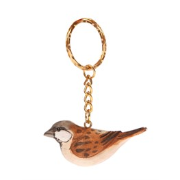 Brown British Birds Wooden Keyring