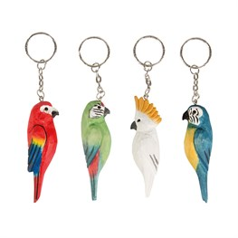 Parrot Paradise Carved Wood Keyring  (options available)