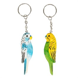 Parakeet Paradise Carved Wood Keyring (options available)