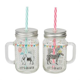 Party Animals Mason Drinking Jar with Straw  (options available)