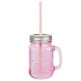 Pink Vintage Original Mason Jar with Straw